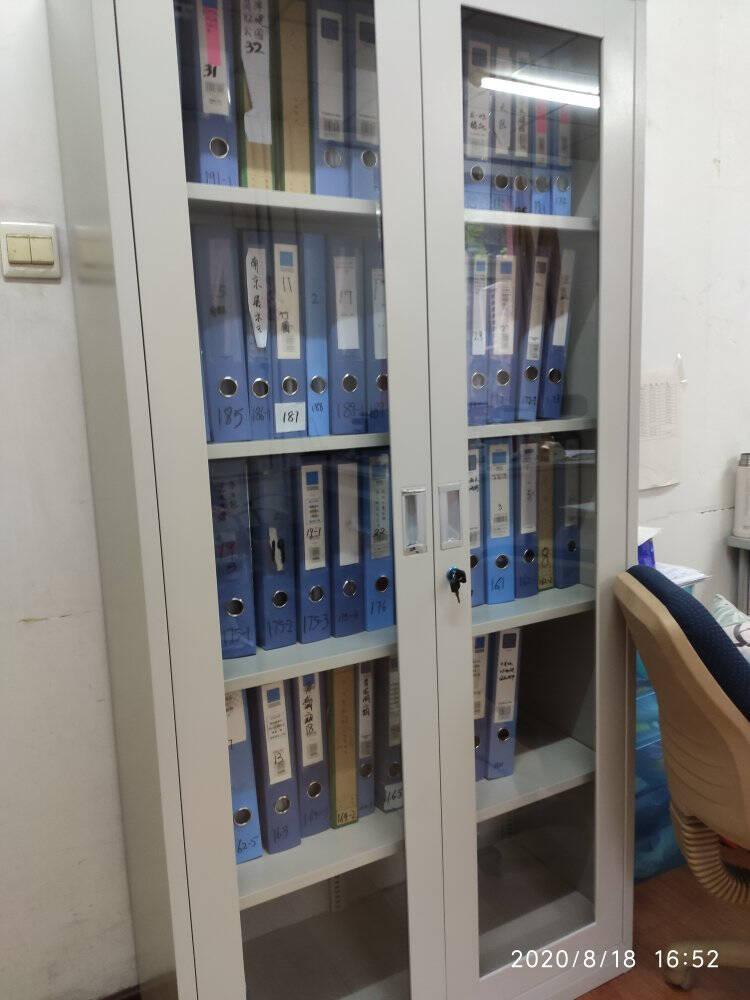 锐达星文件柜办公柜钢制铁皮柜资料柜档案柜通玻对开门文件柜经济款