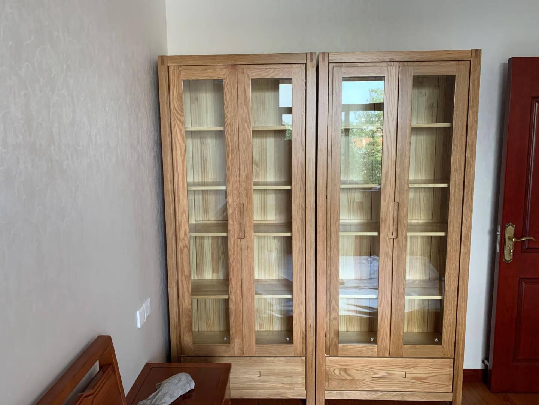 青岛一木书柜全实木书架进口北美白橡木北欧现代简约书橱书柜【白橡木】82*34*200cm
