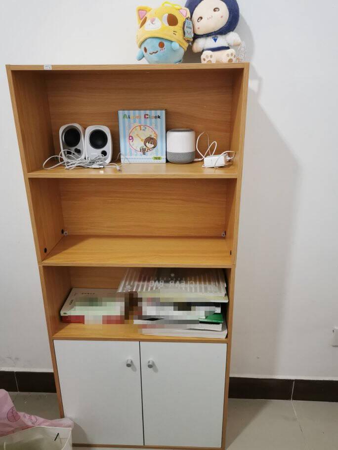 家乐铭品书柜书架收纳架储物柜1.33米加固带门简易柜子省空间落地文件柜现代简约客厅置物柜H490-P