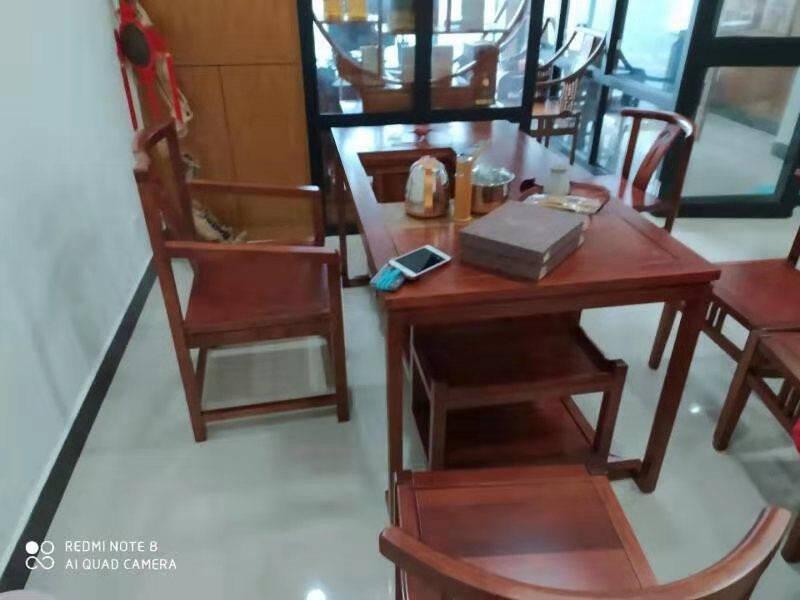 可渝家茶桌茶桌椅组合实木茶几桌客厅家用小户型办公室功夫茶桌新中式泡茶台1.8M茶台(木茶盘)胡桃色