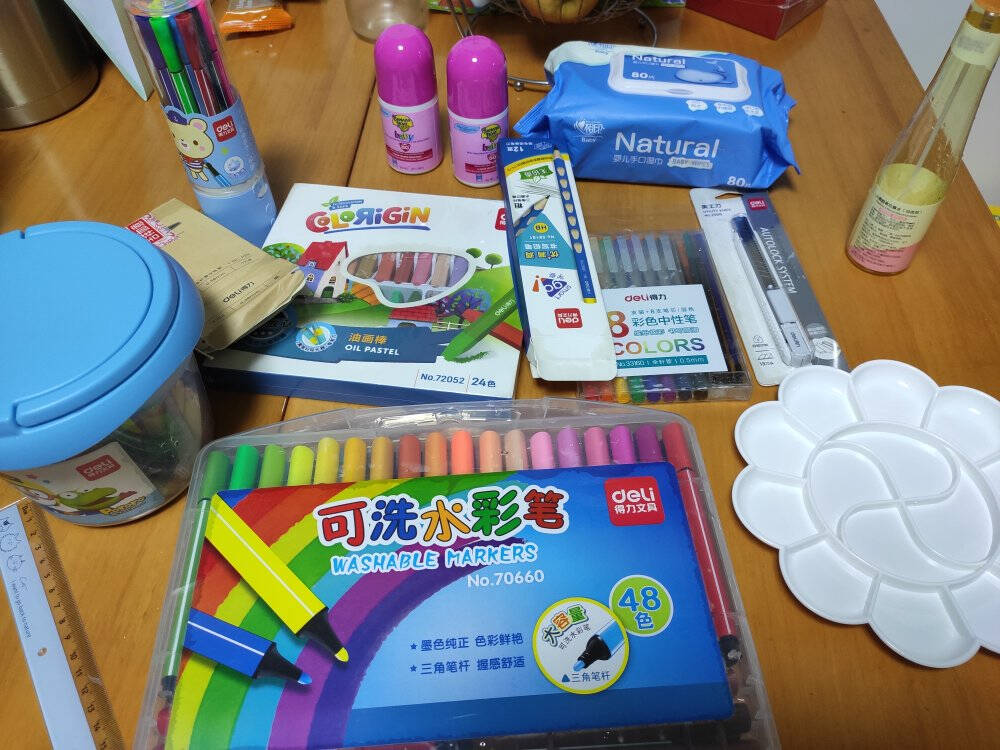 得力(deli)24色儿童蜡笔丝滑油画棒幼儿易抓握涂色画画笔玩具油化棒绘画工具抽屉盒装33984-24