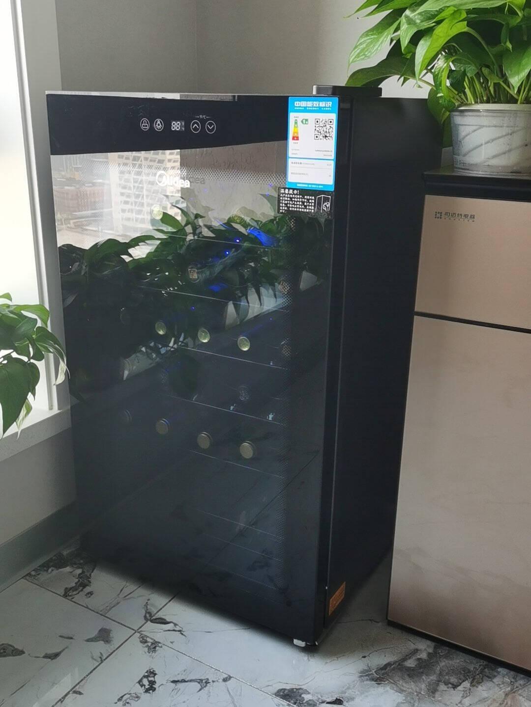 美的(Midea)34瓶装控温保湿红酒柜家用客厅新潮葡萄酒小型冰柜办公室冰吧WS034EM