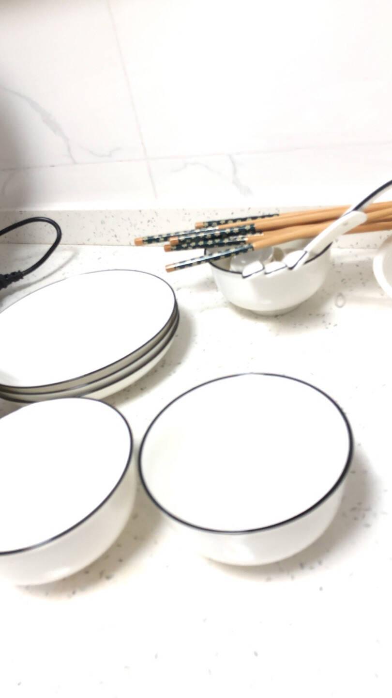 尚行知是景德镇日式碗碟套装北欧陶瓷碗筷盘子家用微波炉餐具吃饭碗小汤碗4碗4盘4勺4筷1汤碗1汤勺圆形
