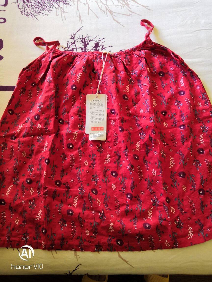 如素慢衣文艺复古宽松棉布印花无袖吊带背心女夏季17616红色均码