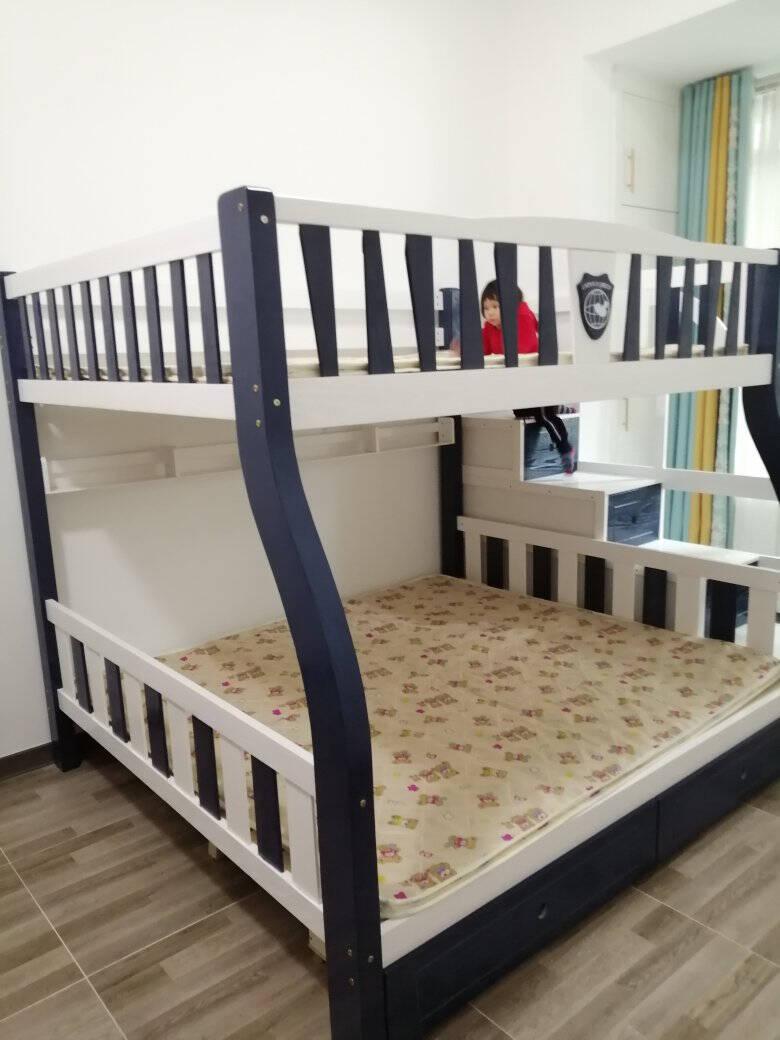 【同价11.11,狂欢再续一天】喜特森儿童床上下床高低床子母床全实木上下铺高端双层实木床G款梯柜(橡木色配蓝色)+安装上铺宽130CM下铺宽150CM