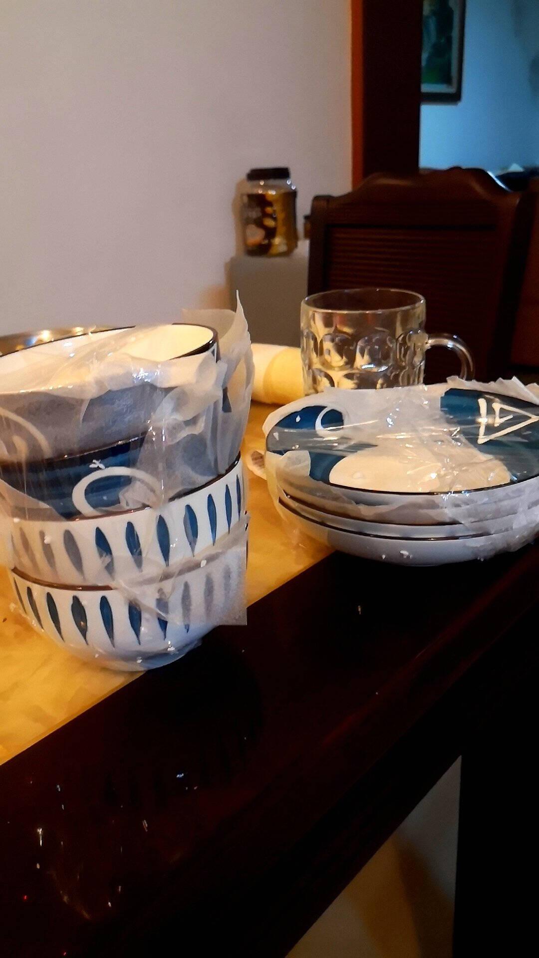尚行知是餐具碗碟套装网红景德镇市陶瓷餐具创意日式风套装面碗家用陶瓷碗筷【4碗4盘4勺4筷】日式混色