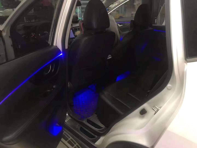 汽车氛围灯免穿线64色冷光线黑色隐形线车内装饰灯改装车声控音乐节奏导光条汽车内饰脚底灯手机APP遥控【4个灯源+5米线】免穿线
