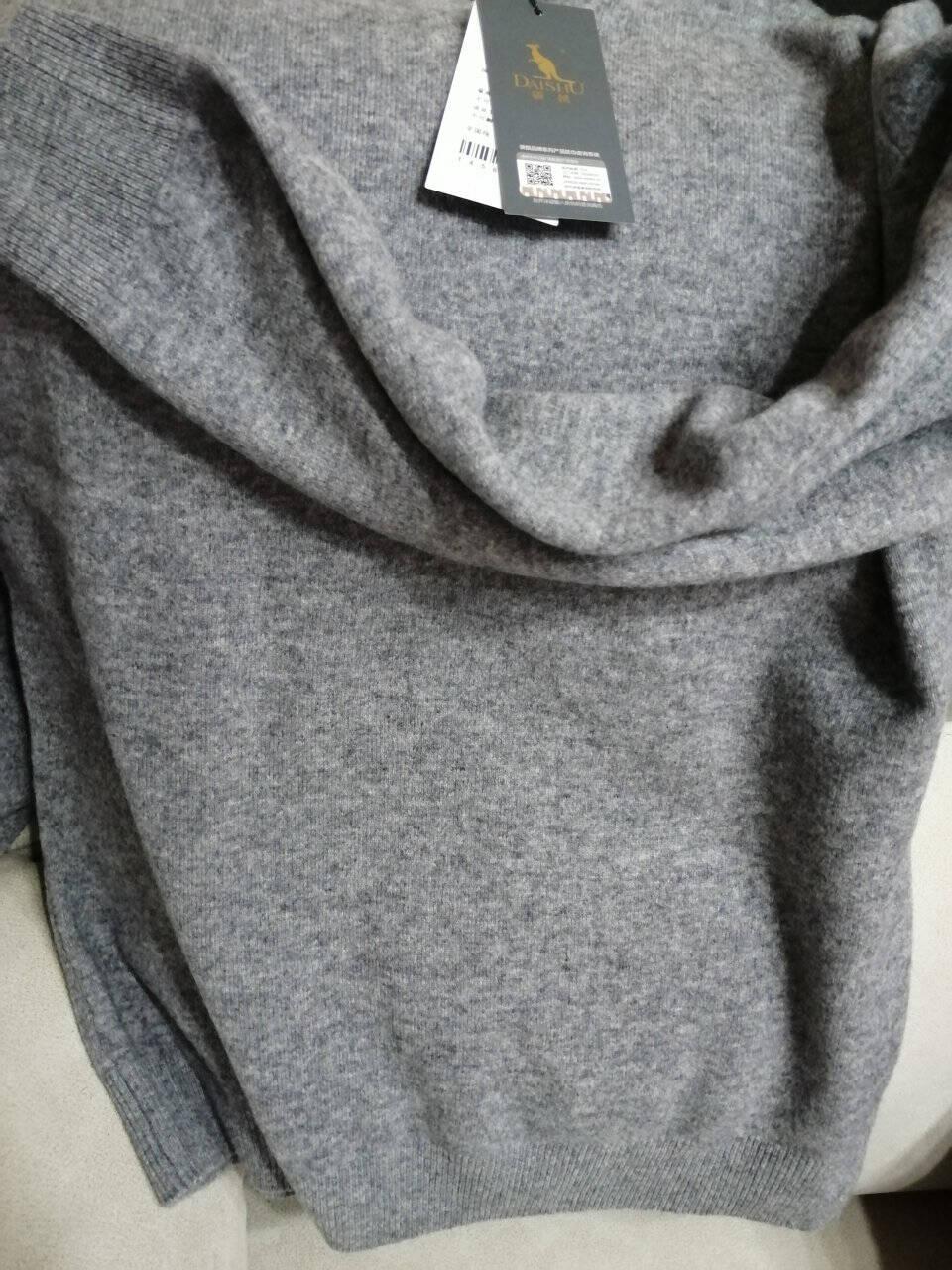 袋鼠纯羊绒衫男加厚2020秋冬新款山羊绒V领男士毛衣中年休闲保暖针织衫纯灰175/XL