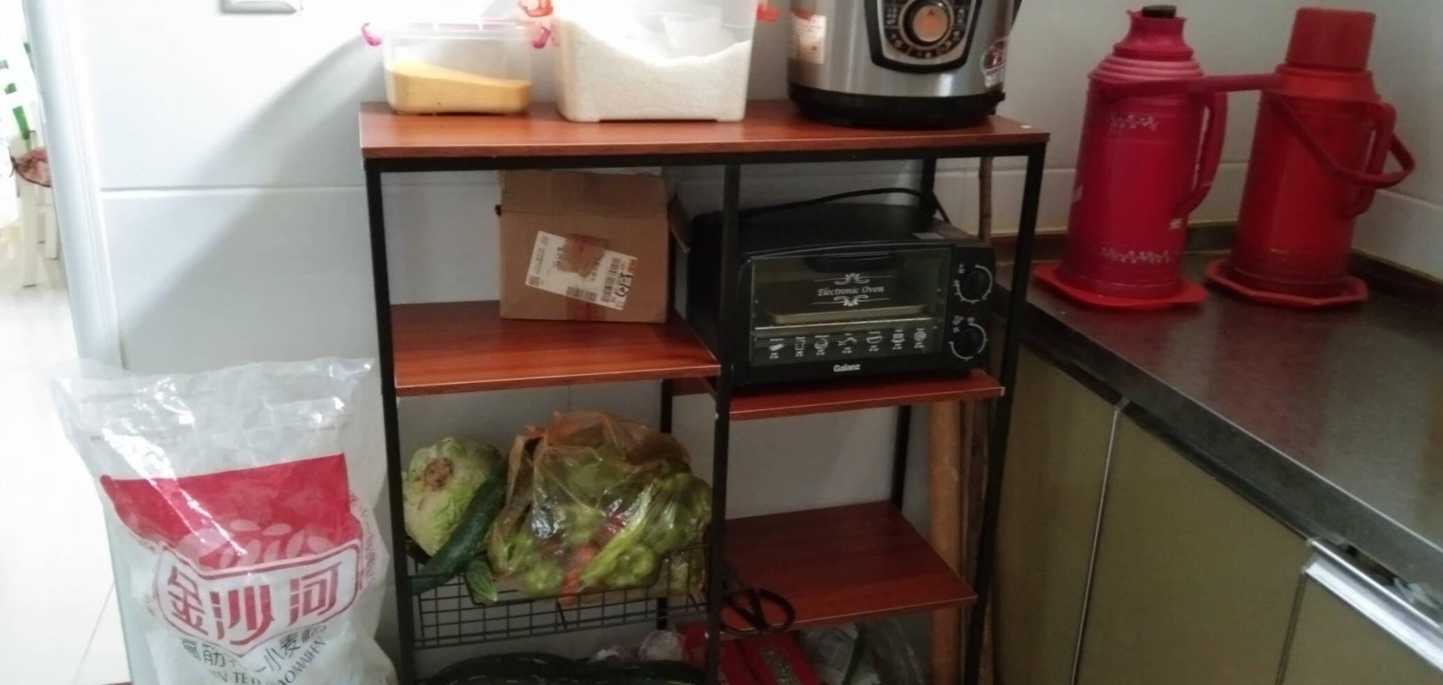 众淘厨房置物架落地微波炉烤箱多层家用货架碗柜蔬菜篮架储物收纳架子四层80*30*101CM古檀木黑架