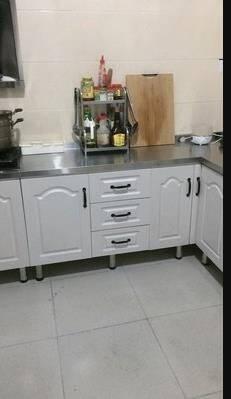 简易厨柜济型家用不锈钢灶台柜厨房整体组合装洗菜碗柜简约橱柜160三抽平面(可选灶台款)