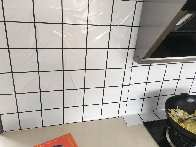 全品屋厨房防油贴纸灶台耐高温防水浴室墙贴橱柜防油烟自粘加厚卫生间墙纸自粘装饰贴白色格纹0.60*5米