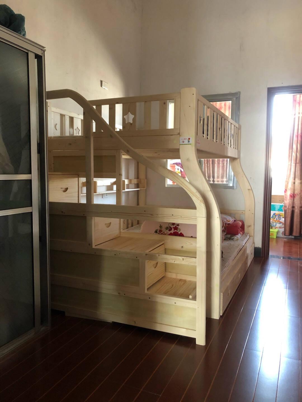 百冠包安装全实木床上下床子母床两层儿童床双层床高低床松木床上下铺双人床多功能女童公主床梯柜床上铺宽160下铺宽180