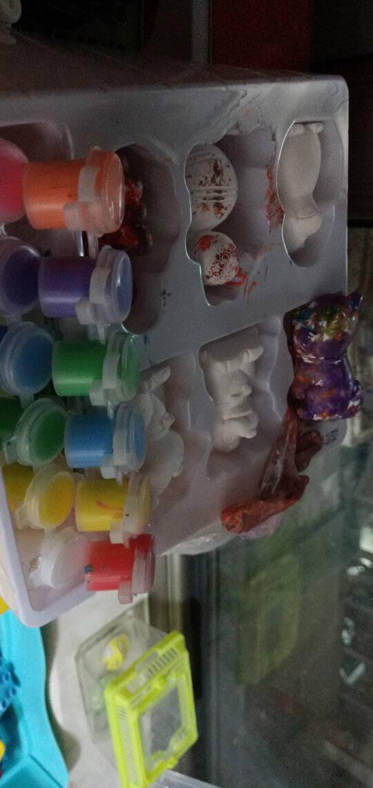 彩绘画石膏娃娃涂色白胚涂鸦儿童diy手工上色陶瓷搪胶玩具女益智动手齐发展夜市摆摊模型具创意幼儿园6个动物石膏+12色水彩+画笔+水彩盘+围裙