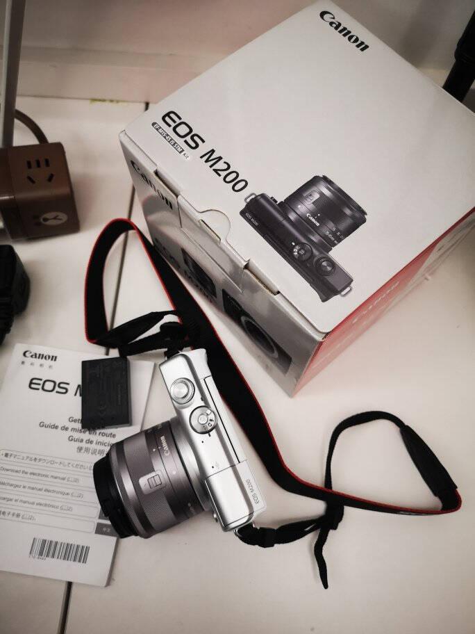 佳能(Canon)EOSM200微单相机套机旅游vlog男女学生相机视频拍摄4K高清数码相机M200黑色单机+15-45mm镜头+优惠套餐