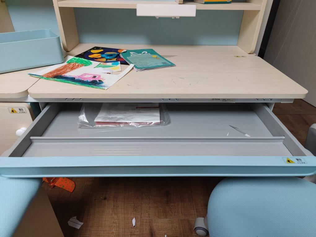 京东京造儿童学习桌椅套装进口实木学习桌儿童学习椅儿童书桌写字学习桌可升降带书架1.2米蓝