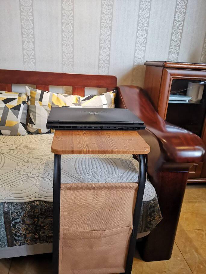 京居茶几移动边桌边几客厅沙发边桌边几角几茶几带轮小茶几方桌木纹色