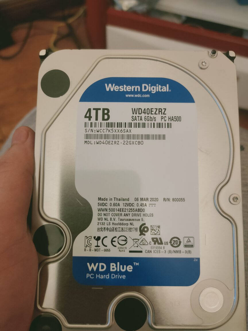 西部数据(WD)蓝盘4TBSATA6Gb/s64MB台式机械硬盘(WD40EZRZ)