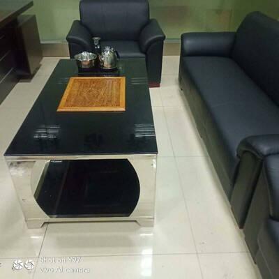 天楷办公沙发商务接待室会客区简约现代真牛皮三人位办公室沙发茶几组合色卡一块黑色加厚西皮