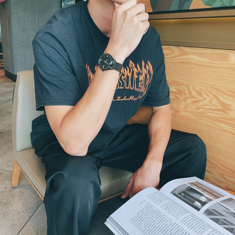 【新年送礼】罗西尼(ROSSINI)手表男启迪系列夜光罗马字钉表盘商务男士手表百搭时尚男腕表全黑钢带男表5200011B04C