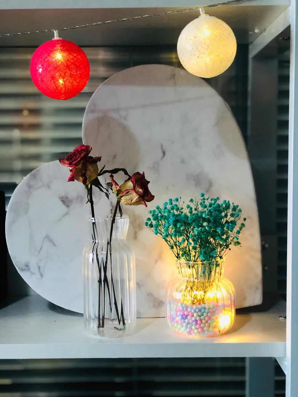 甜蜜点花瓶北欧透明玻璃花瓶干花仿真花满天星鲜花插花透明水培花器客厅玄关电视柜床头摆件装饰