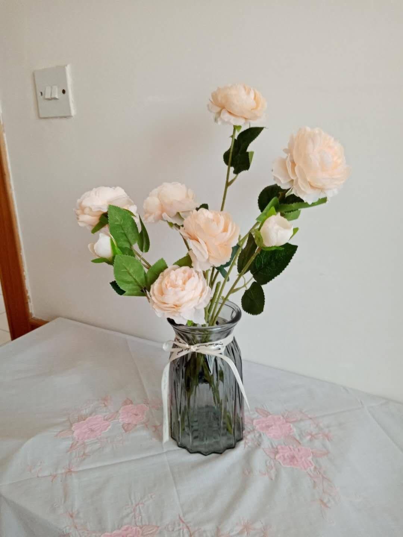 多美忆花瓶玻璃花瓶摆件客厅仿真花家居装饰现代摆设仿真花插花花瓶玻璃摆件折纸透明