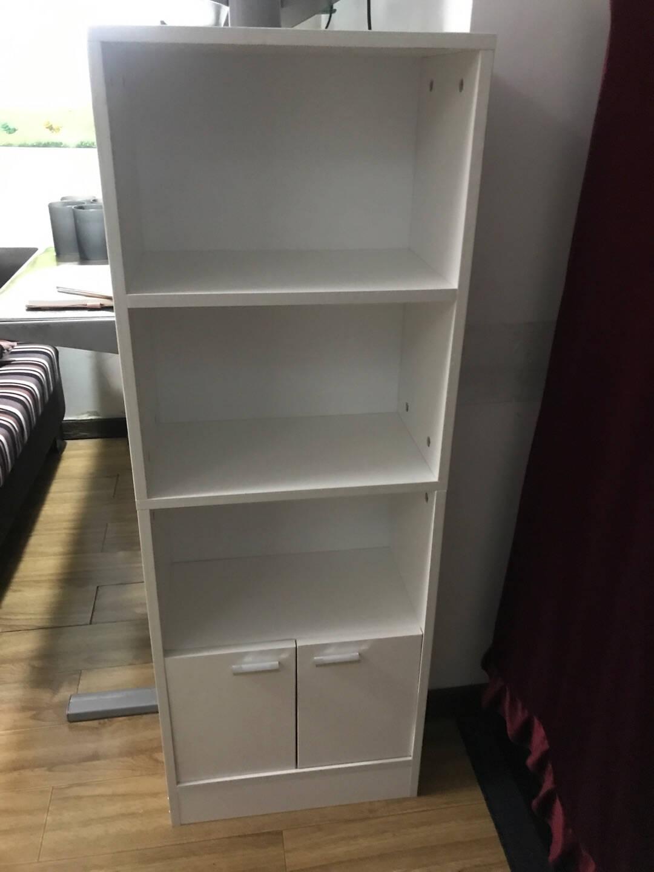 雅美乐书架书柜落地自由组合带门四层储物柜客厅卧室阳台木质儿童书橱收纳柜子暖白色YNSG405