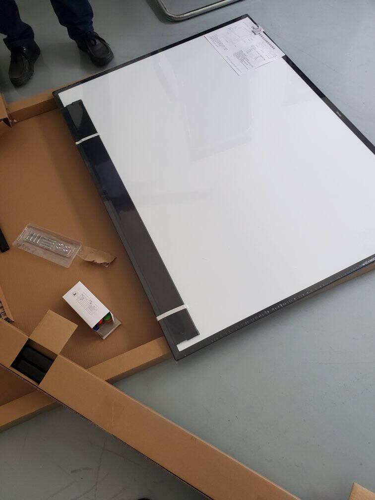 得力(deli)高端系列支架式白板180*90cmH型支架可移动可翻转白板双面磁性办公会议写字板赠白板擦笔磁钉7884