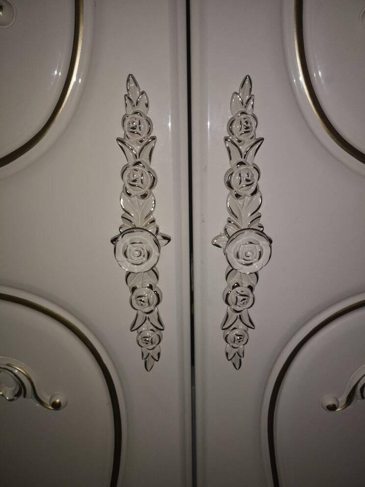 鹰盾欧式田园镶金象牙白色拉手现代橱柜厨房抽屉衣柜门家具把手6309象牙白-吊坠