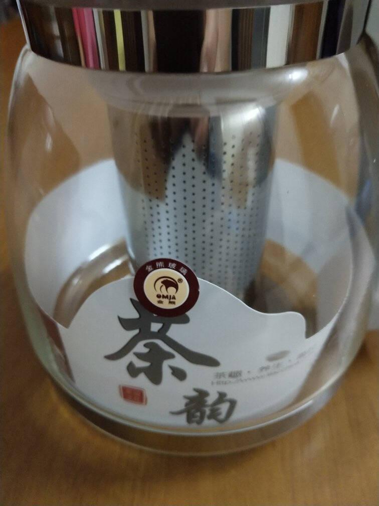 金熊玻璃茶壶耐热玻璃大容量花草茶壶304不锈钢过滤内胆泡茶器易清洁茶具1.5LT101杏色