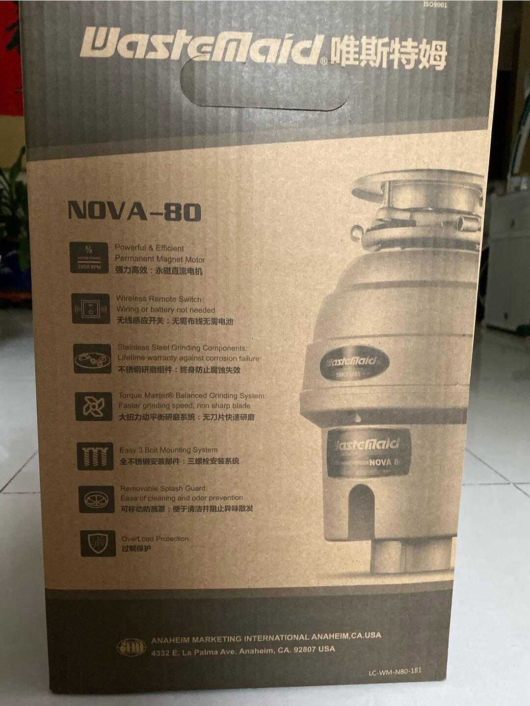 美国唯斯特姆(Wastemaid)垃圾处理器厨余垃圾粉碎机家用抑菌型NOVA80-RS源自美国