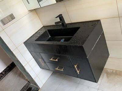名爵(MEJUE)浴室柜纳米岩石台面洗脸盆组合现代简约柜镜柜卫生间吊柜洗漱台洗手盆柜套装Z-06200B080MYH