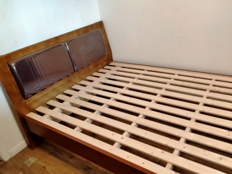 贤德家实木床1.8米现代简约软包床主卧婚床新中式1.5软靠床经济型家用床实木单床859#【颜色备注】1500mm*2000mm框架床