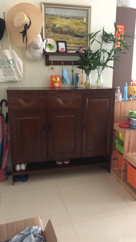 迈林(MaiLin)实木鞋柜现代简约中式大容量隔断门厅玄关鞋柜超薄双门三门小户型木质矮柜简易鞋柜1.2米三门款【胡桃色】
