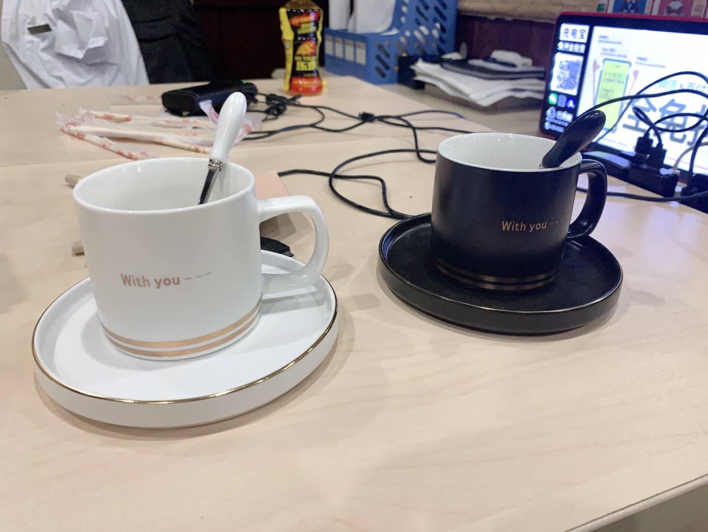 Edo北欧风简约陶瓷杯子200ml创意家用办公室咖啡杯套装带勺男女情侣杯白色TH7208