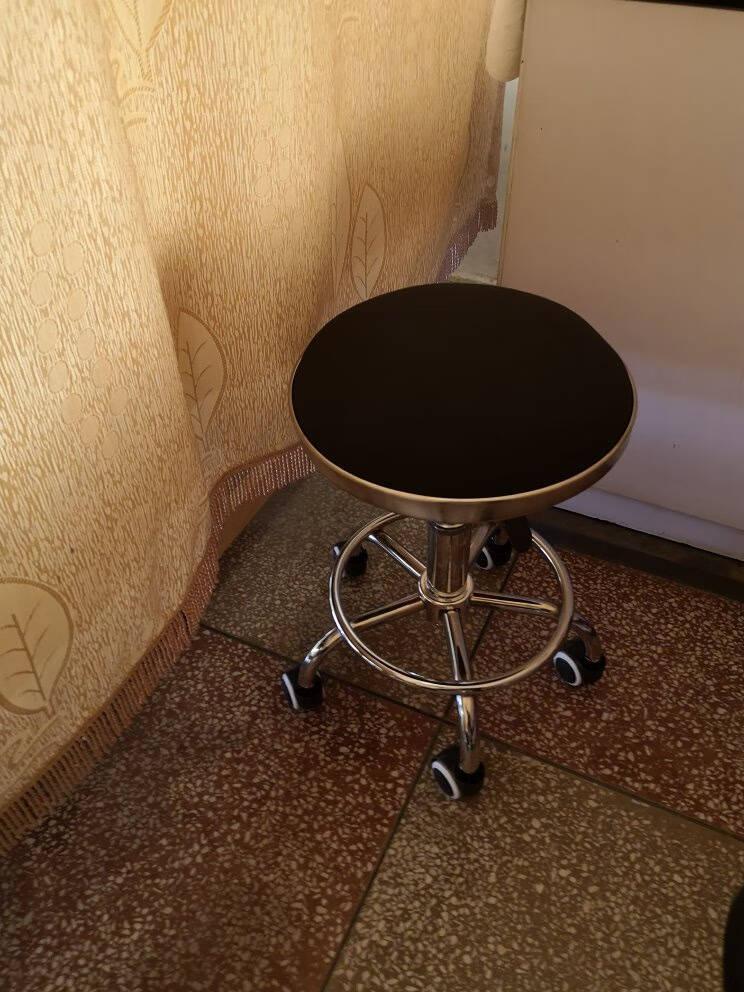 L&S吧台椅子家用北欧可旋转吧凳子餐椅可升降酒吧椅化妆椅美容椅理发椅高脚凳BY503黑色滑轮款