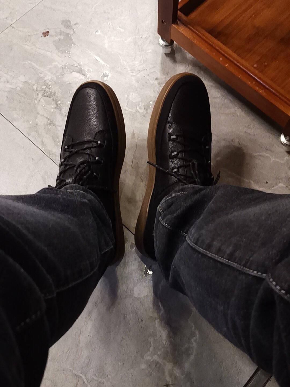 暇步士hushpuppies马丁靴男士冬季高帮休闲时尚工装系带舒适防滑短靴B2D22DD0卡其色41