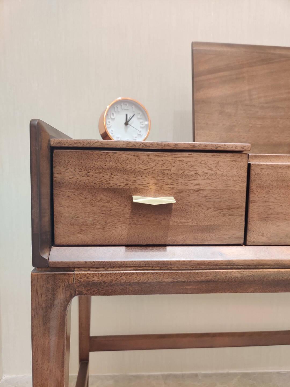 【同价11.11十年庆】作木坊梳妆台化妆台卧室桌子实木梳妆台凳子C1326单梳妆台(自带妆镜)进口胡桃木