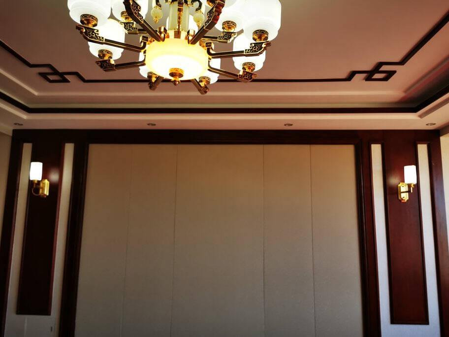 东羽新中式客厅吊灯中国风玉石卧室餐厅仿古茶楼别墅大气书房创意灯具A款-电镀工艺4头【赠品:usb小夜灯】