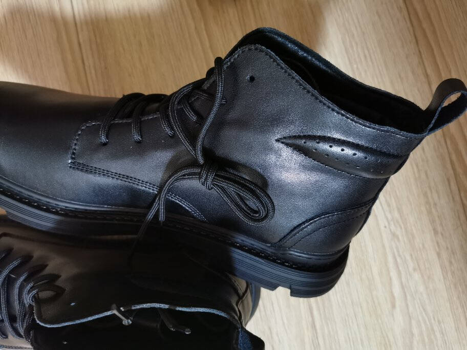 【精选牛皮】马丁靴男冬季透气高帮皮鞋中帮男靴英伦风工装靴皮靴真皮短靴秋季新款棉鞋黑色-单鞋款41皮鞋码