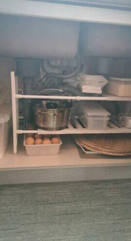 家の物语日本厨房下水槽置物架可伸缩不锈钢沥水储物架多功能碗碟架子浴室收纳架白色