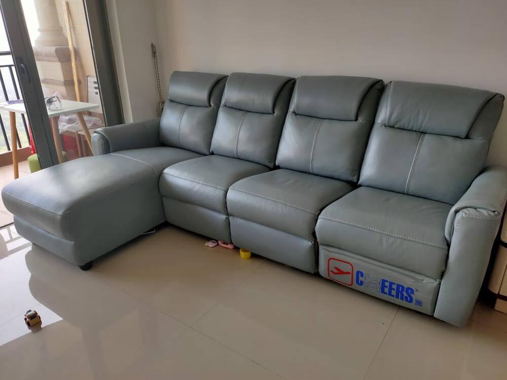 芝华仕头等舱真皮沙发现代简约客厅手动功能沙发小户型家具10298灰白色-面向沙发左角位15天内发货