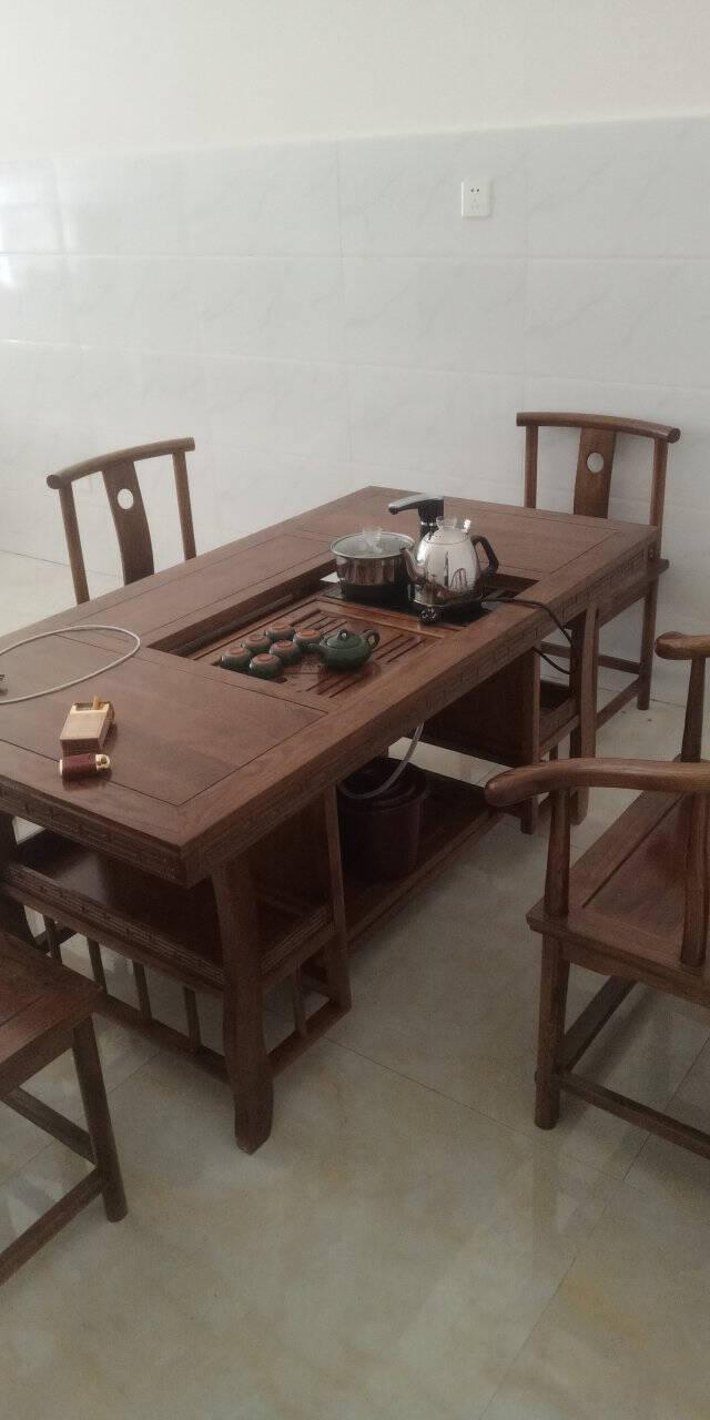 志融实木茶桌椅组合茶桌茶台茶几桌实木榆木茶桌茶桌椅组合实木办公室喝茶【1.5米加厚马到成功】茶桌配四餐椅一圈椅