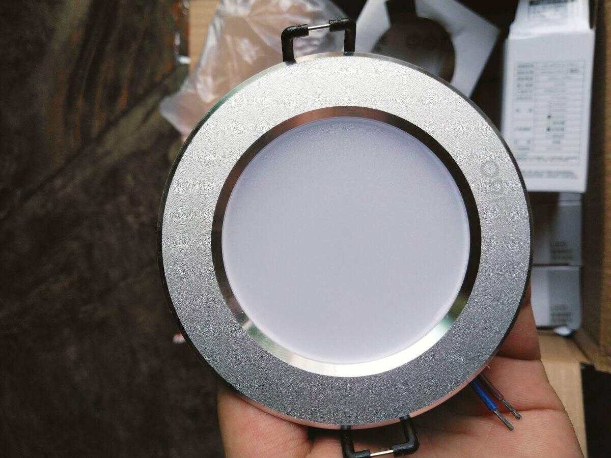 欧普照明(OPPLE)led筒灯3W超薄桶灯客厅吊顶天花灯过道嵌入式孔灯牛眼灯白光砂银开孔7-8厘米【铝材款】