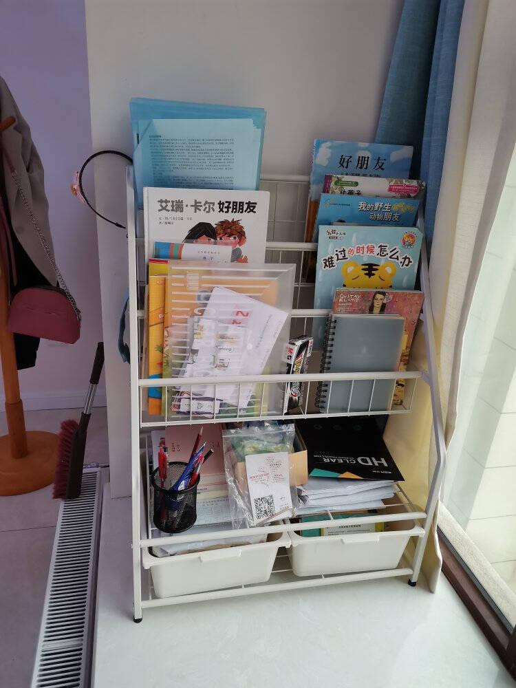 SOFSYS儿童书架幼儿园宝宝书架书柜学生书报架杂志展示架玩具架落地绘本书架收纳架子铁艺小书架XL码增高版(5+1层)送3盒