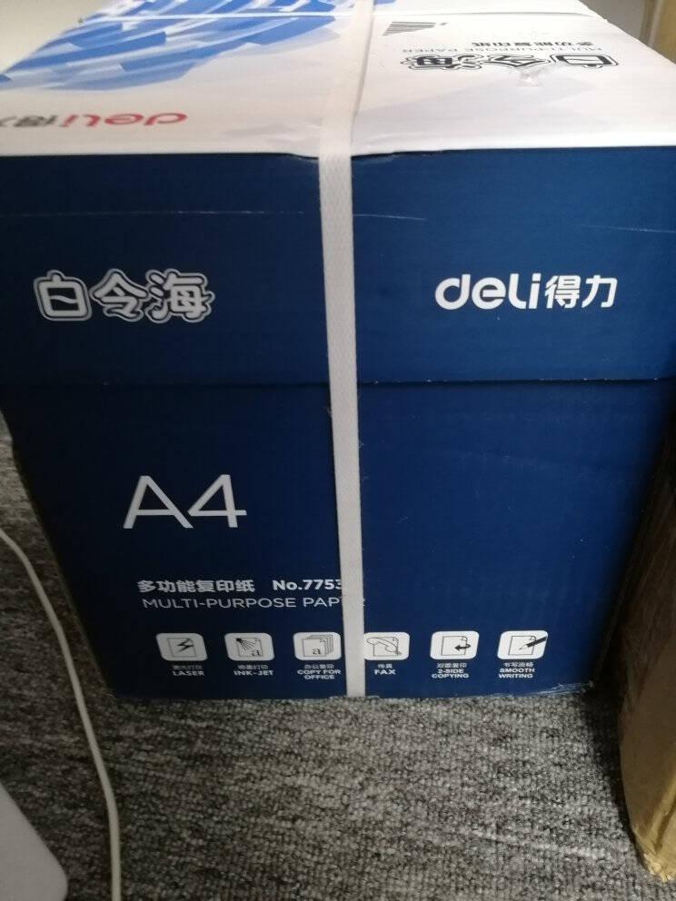 得力(deli)白令海80gA4复印纸打印纸500张/包5包1箱(整箱2500张)