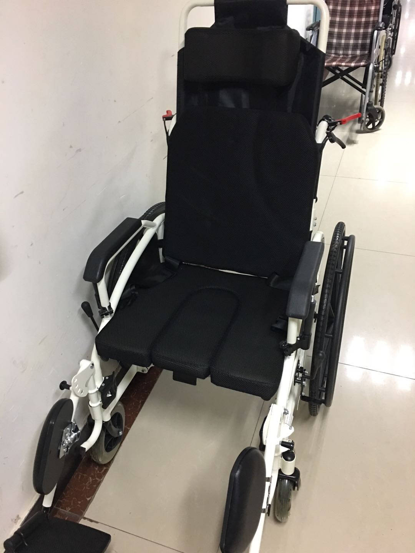 迈德斯特轮椅折叠轻便老人带坐便可半躺平躺残疾人代步车豪华折叠全躺款【餐桌+便盆+实心胎】