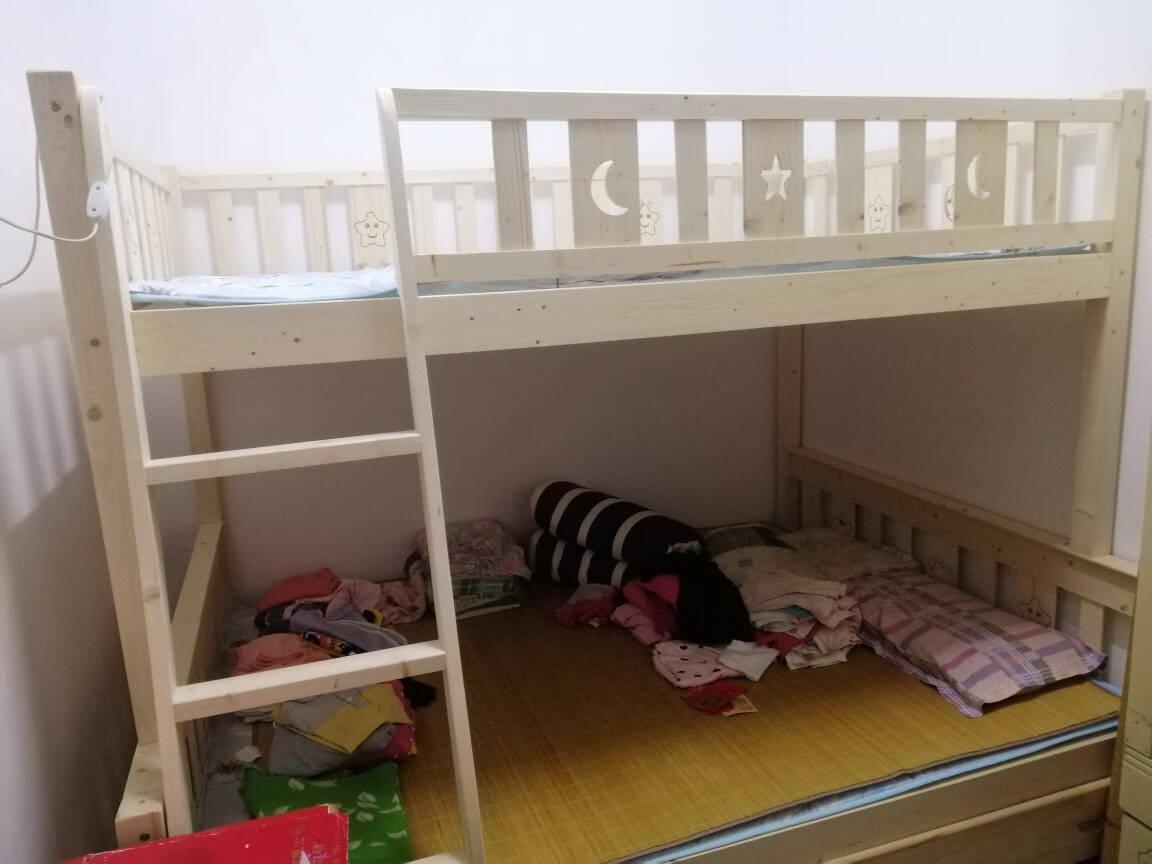 十亿客床上下床实木上下床儿童床双层床子母床成人高低床宿舍上下铺床小孩床分体床直梯上100下120+书架+床垫