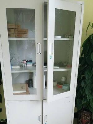 迪欧(DIOUS)资料柜储物柜文件柜凭证柜钢制铁皮柜亚光灰色带锁玻璃开门五层大器械柜档案柜