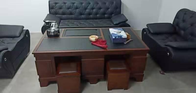 岑旭茶几功夫茶几茶桌现代自动上水茶桌椅组合办公室家用客厅泡茶台火烧石茶几多功能实木套装茶几胡桃色+火烧石茶盘1.2米*0.65米