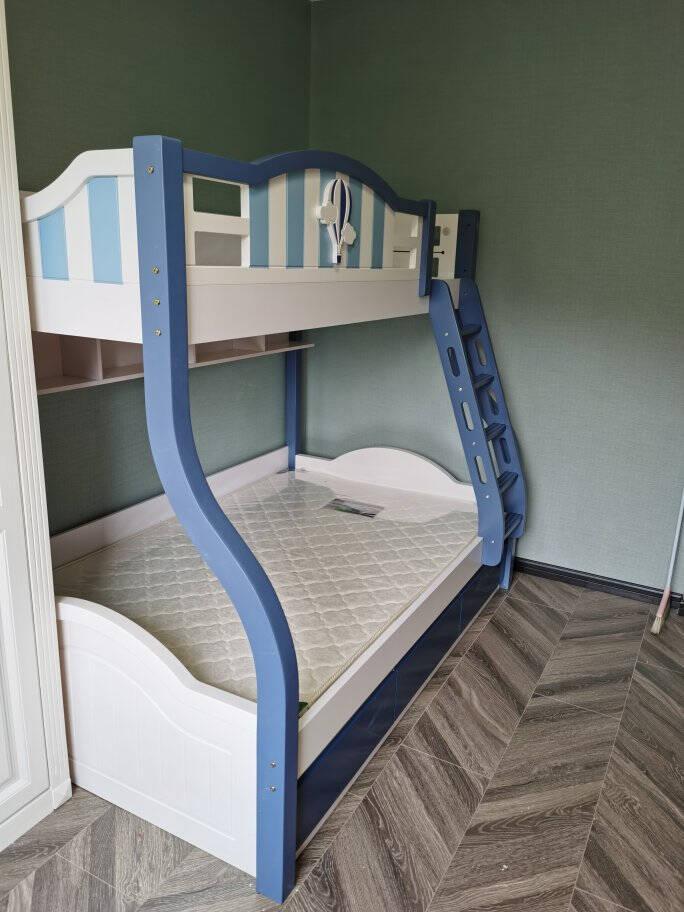 尚心家儿童床高低床上下床子母床双层床男孩女孩蓝色粉色带书架蓝色1.2M上下床